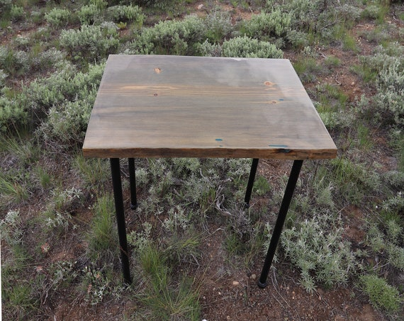 Resin Table Glow in the dark - Gray Wood with Blue Glow in the Dark - Pipe Legs - Entry Way - Plant Stand - Apartment -  Night Stand