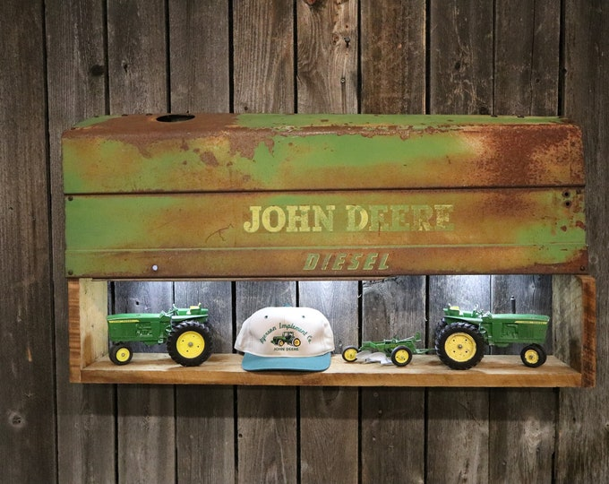 John Deere Tractor Panel Shelf with light! - This would look great displaying your favorite things. Check out the Patina / Rust on this!