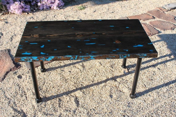 Glow in the Dark Coffee Table with Pipe Legs Table - Glowing Blue Coffee Table - SawtoothWoodDesign