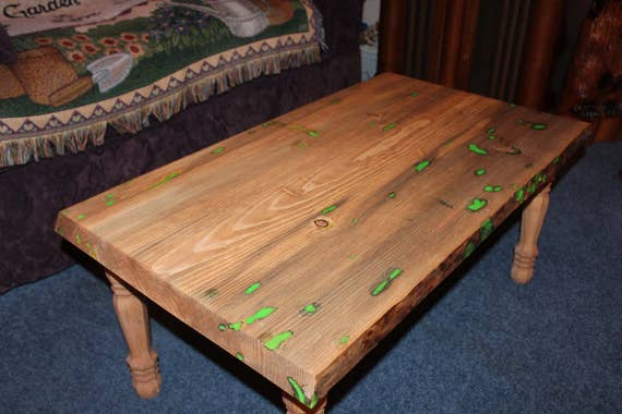 Glow Coffee Table - Glow in the Dark , living room, family room, new apartment, new house, table - SawtoothWoodDesign