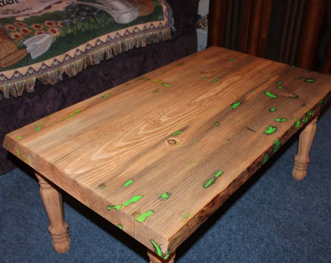 Green Glowing Epoxy Coffee Table - Glow in the Dark Perfect for your living room, family room, new apartment, or house.