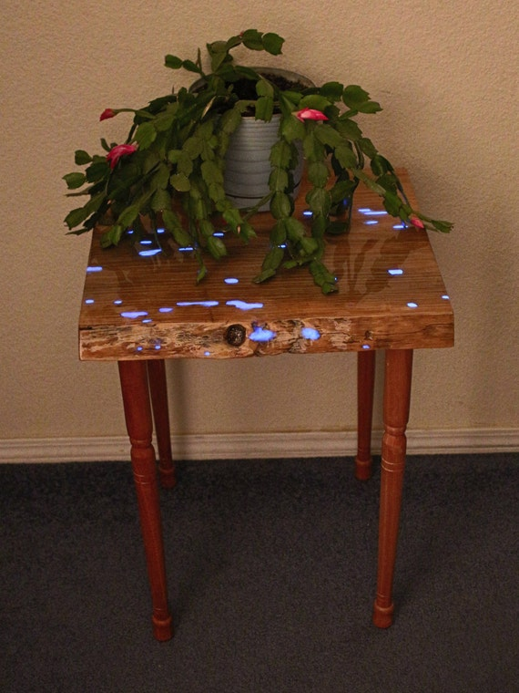Entryway Table - Night stand - Plant Stand - Nightstand - Purple Blue Glow in the Dark -  New apartment , House - bed side table - college