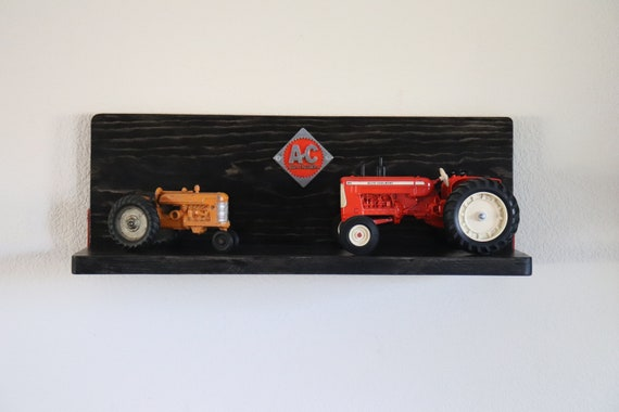 """Allis Chalmers 24"""" Wood Shelf - Tractor Pine Barn Shelves - Rustic, Country, Man Cave, Home Decor, Kitchen, Living Room"""