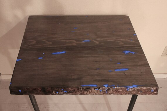 Glow in the Dark Entry Way Table - Live Edge -  Night Stand - Industrial Gray Wood Table - Pipe Legs - Plant Stand - Apartment - Side Table