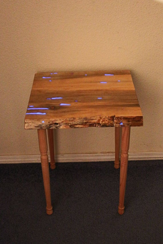 Glowing Bedside Table, Entryway Table, Glow in the Dark Blue Pine Table - Plant Stand, Hall Table, family room, new apartment, new house