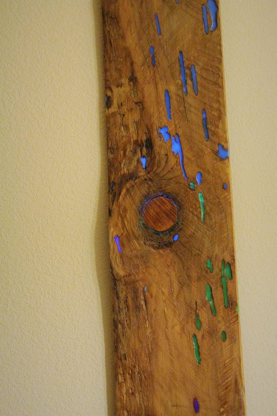SALE! Glow in the Dark Wall Hanging, Wall Art, - Wood - Diversity of Brilliant Colors, Rainbow, Made by Nature!,