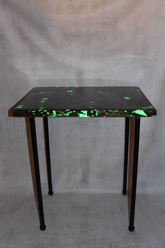 Glow in the Dark Wood Table - Industrial Style- Pipe Legs Table - Plant Stand - Apartment - Entry Way Table - Night Stand