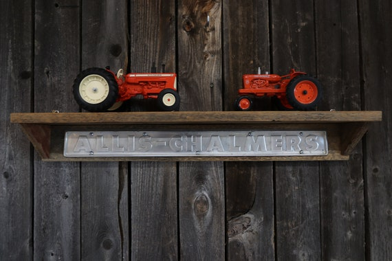 """Allis Chalmers 34"""" Barn Wood Shelf - Tractor Barn Board Shelves - Rustic, Country, Man Cave, Home Decor, Kitchen, Living Room"""
