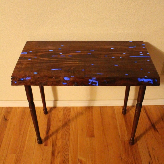 Entry Way Table -  Glow in the Dark Wood Table - BedSide Table - Hall table - Live Edge Sofa Table - New Apartment - End Table
