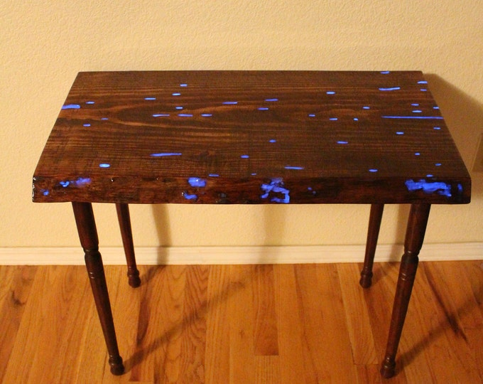 Home Schooling Table /Desk -  Glow in the Dark Epoxy Resin Wood Table - Entry way Table - Hall table - Live Edge Sofa Table - End Table