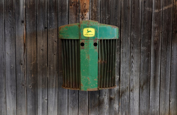 John Deere Tractor Grill 720 with battery operated LED light - Tractor Grill Wall Art - Brewery - Garage - Man Cave - Farmer - Country Chic