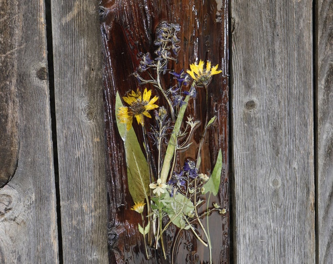 A Bouquet that will last forever. Wildflower Art! Real Wildflowers from Idaho on wood, sealed with resin to hang on your wall.