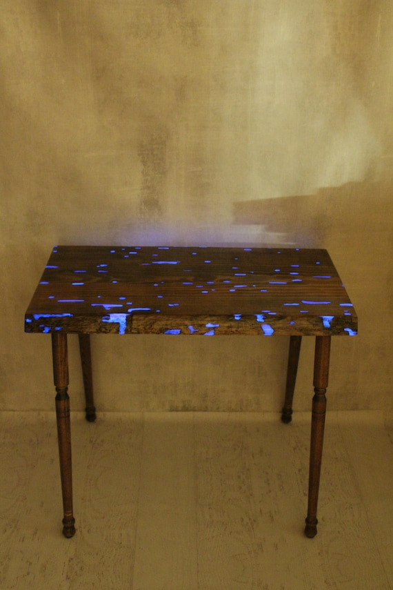 Table - Purple Glow in the Dark Table - Hall table - Live Edge Table - New Apartment - Entryway - End Table - Entry Way Table