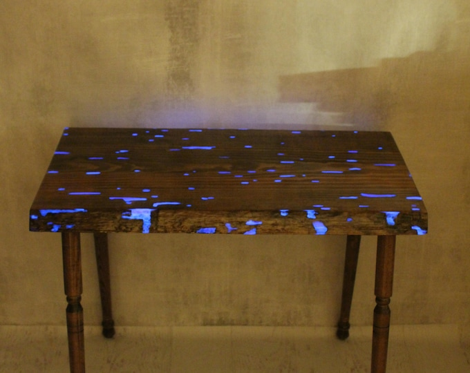 Epoxy Resin Table - Purple Glow in the Dark Table - Hall table - Live Edge Table - New Apartment - Entryway - End Table - Entry Way Table