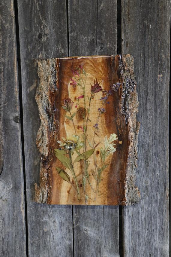 Chunky Bark-Live Edge Wildflower Art! -Real Idaho Wildflowers including mules ears, Indian paintbrush, & penstemon.