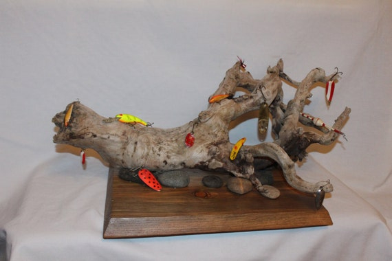 Driftwood Fishing Lure Art Sculpture