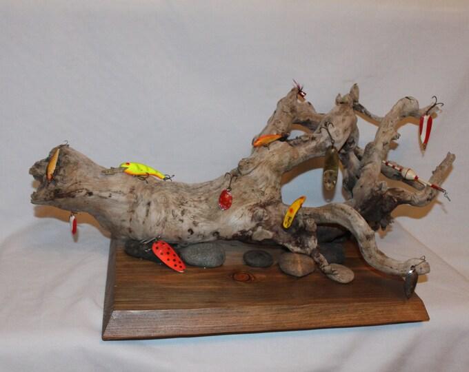 Driftwood Fishing Lure Art Sculpture