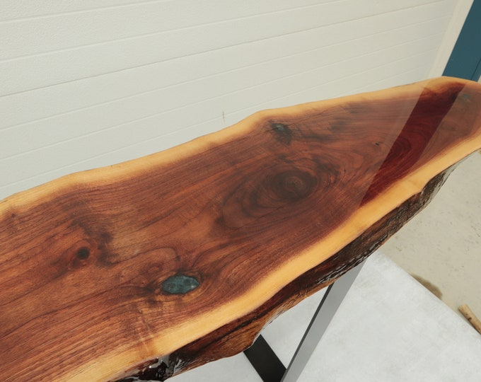 Live Edge Walnut Epoxy Resin entry way / console Table with blue accents for back of your couch/sofa or entry way 6' length x 1' wide
