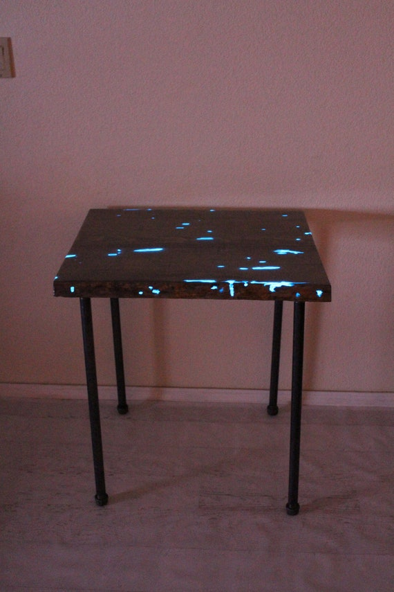 Resin Glow in the Dark Entry Way Table - Live Edge -  Night Stand - Industrial Gray Wood Table - Pipe Legs - Plant Stand - Side Table