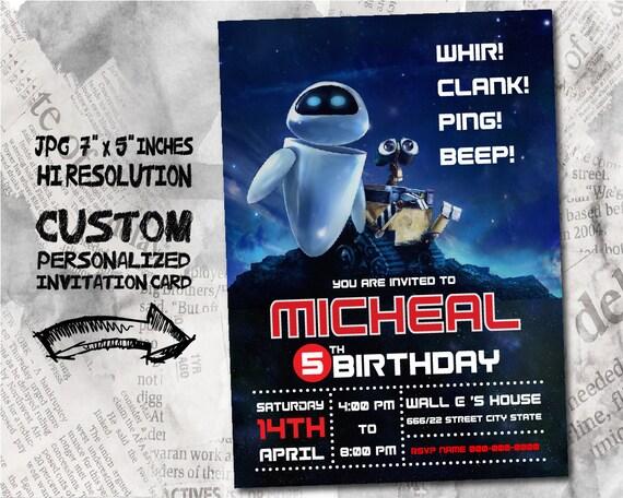 Wall E Birthday Invitation Card Size 5x7 Inches Etsy