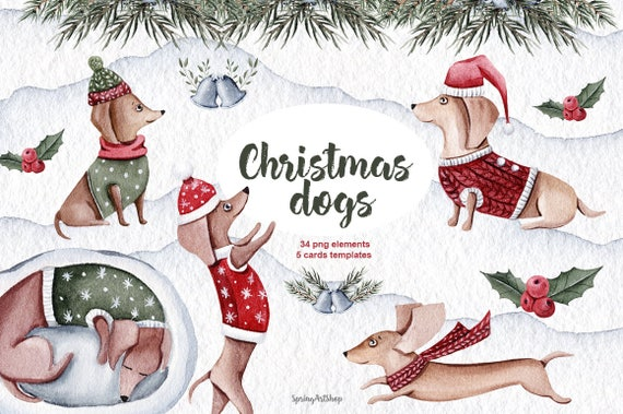 Cute Christmas Dogs Winter Watercolor Clipart Christmas Etsy