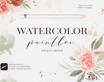 Watercolor brushes for procreate and stamps, Brush Bundle for Procreate App for iPad Pro -  Flower Procreate Brushes Illustration Brushset