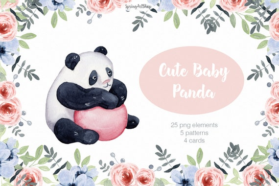 wild stone leaves Panda Bamboo baby panda and mom cute china nature forest Watercolor animal clipart frame realistic
