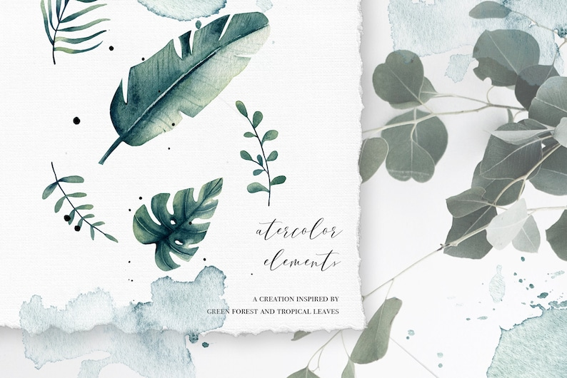 summer greens tropical leaves Mountains poster Watercolor Greenhouse poster collection tropical poster wall art Foggy forest painting