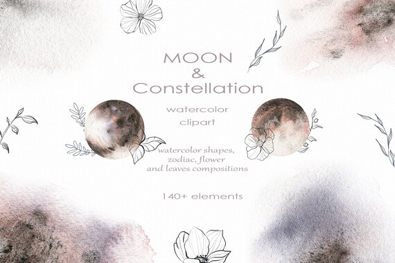 Watercolor clipart of Moon /& Constellation Star Galaxy clipart watercolor moon sketch flowers flowers and leaves zodiac watercolor clipart