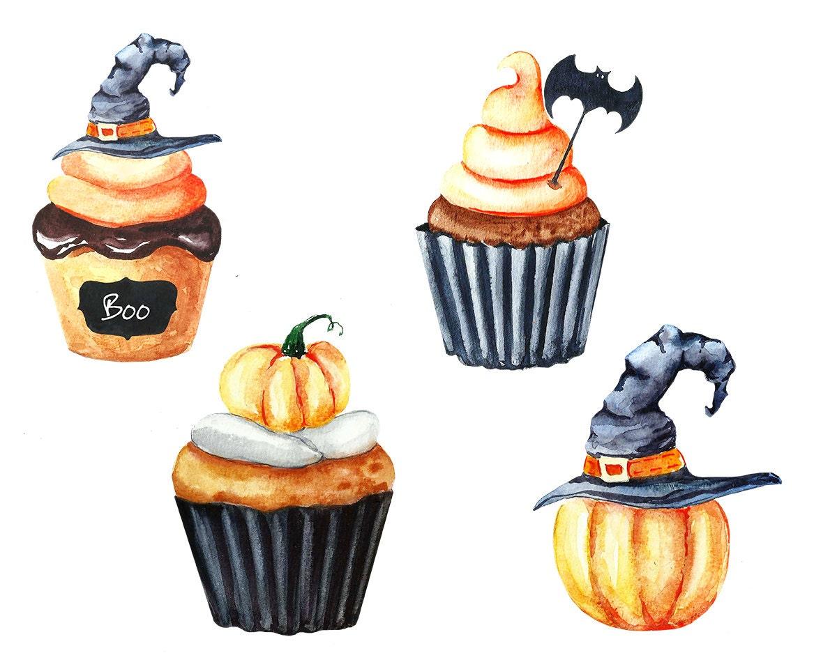 Halloween Watercolor Clipart Cupcake clipart Pumpkin | Etsy