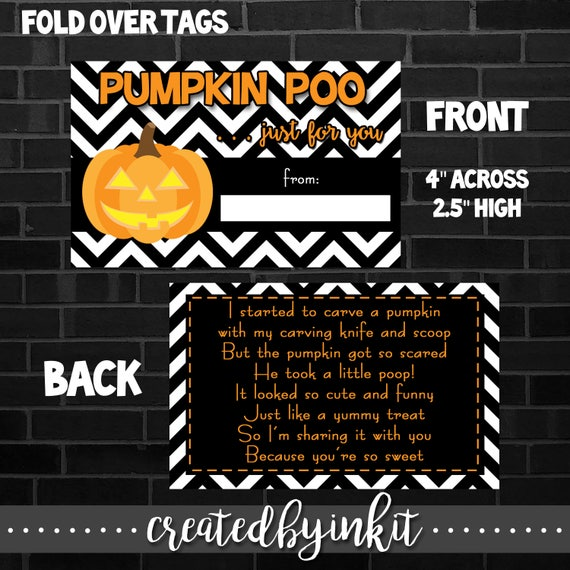graphic about Printable Halloween Tag named Printable HALLOWEEN Tag, Pumpkin Poo, Quick Down load, Electronic Document