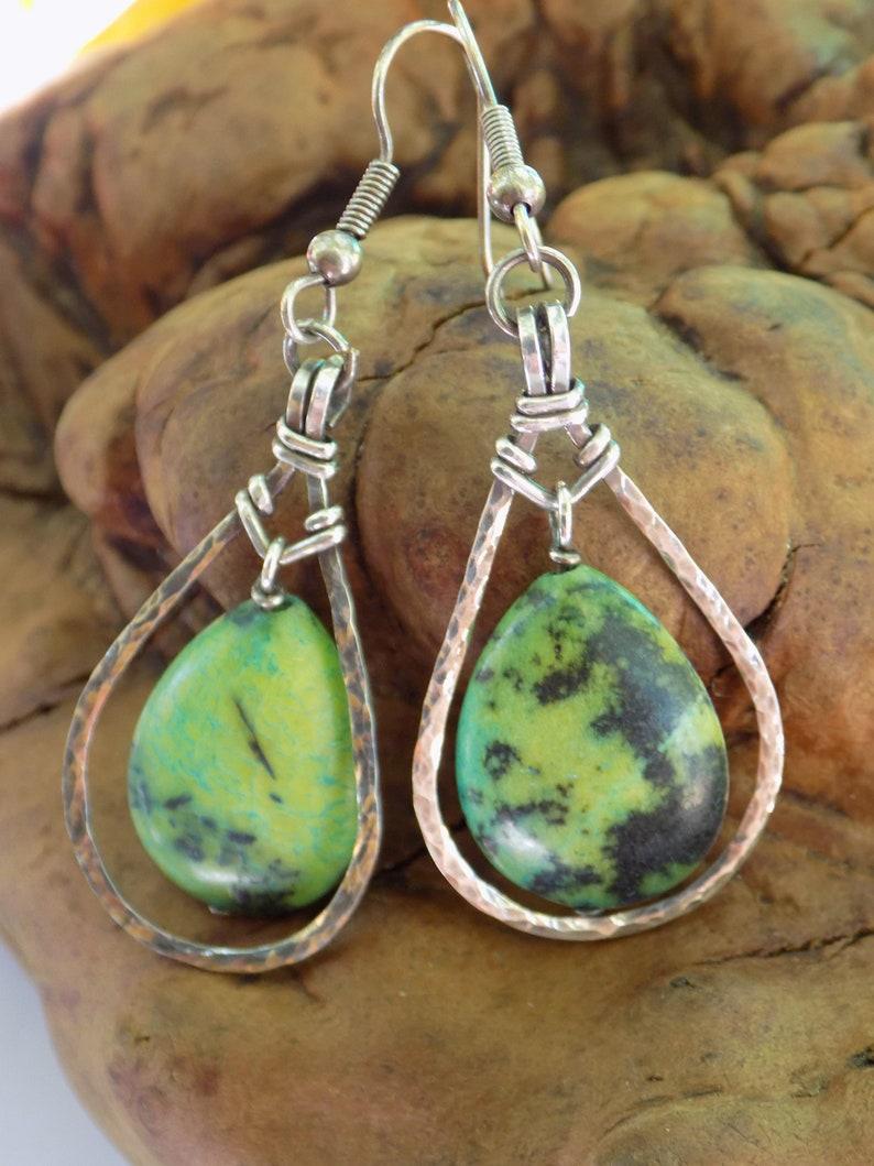 Green magnacite and sterling silver teardrop earrings \u2022 Wire jewelry \u2022 Sterling silver dangles \u2022 Hand made \u2022 One of a kind