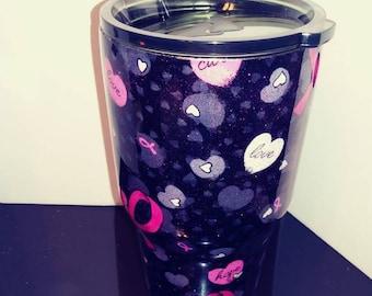 Breast cancer awareness glitter/fabric combo 30oz tumbler