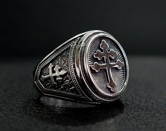 Stainless Steel 2 Color Fleury Cross Shield Biker Ring
