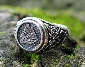 Valknut Ring, Valknut Viking Signet Ring, Viking Ring, Viking jewelry, Viking Pagan Scandinavian Norse Jewelry 925 Sterling Silver