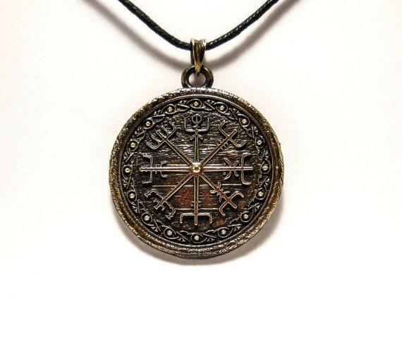 Compass Vegvisir Pendant Norse Viking Runic Compass Pendant Brass Jewelry