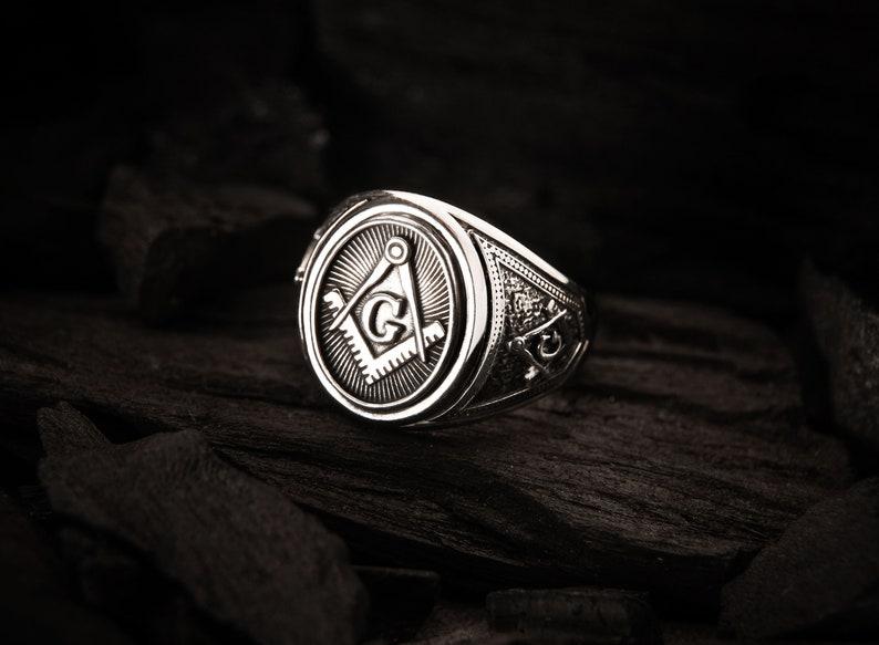 Masonic Ring, Men's Ring, Freemason ring, Illuminati Masonic Sacred Ring,  Freemasonry Ring with Masonic Symbol 925 Sterling Silver
