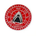 """Spirit Board with Planchette Spinner """"Red and Silver"""" enamel pin for paranormal enthusiasts, ghost hunters, and pin collectors"""