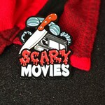 Scary Movies soft enamel pin of a VHS, butcher knife and landline phone for fans of limited edition Spooky / Dark Art collectibles