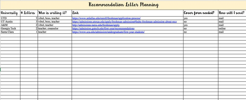 College Application Planning Excel Kit