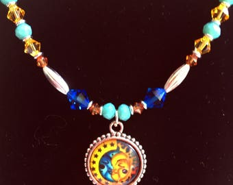 "20"" Sun Moon Crystals Necklace"