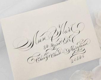 Gala script Pearl blonde gold metallic envelopes with black ink in art nouveau script Fancy custom wedding stationary unique fun