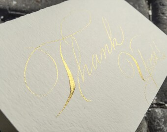 Hand made gold thank you cards. Rose gold wedding thank you cards. Vintage thank you cards. Custom wedding thank you cards. Spencerian scr.