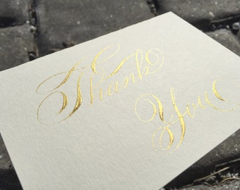 Hand made gold thank you cards. Rose gold wedding thank you cards. Vintage thank you cards. Custom wedding thank you cards. Gala script