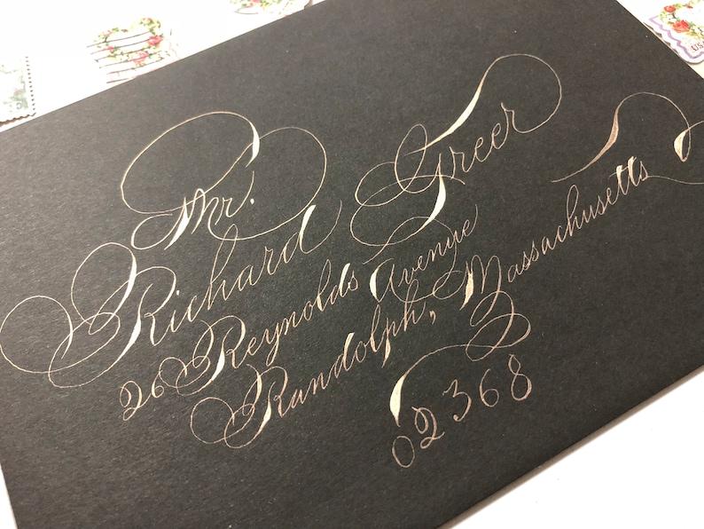 Spencerian script Pearl ink black A7 envelopes with super flourished ornamental script Fancy custom wedding stationary unique fun