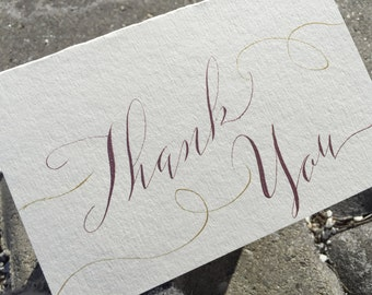 Hand made rose gold thank you cards. Rose gold wedding thank you cards. Vintage thank you cards. Custom wedding thank you cards. Modern scr.