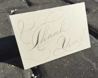 Hand made rose gold thank you cards. Rose gold wedding thank you cards. Vintage thank you cards. Custom wedding thank you cards. Spencerian