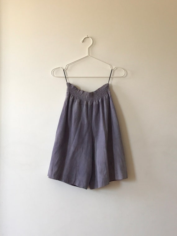 Jean Muir Lavender Suede High Waisted Shorts