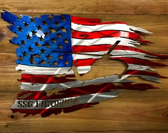 Tattered American Flag with UH-60 Black Hawk