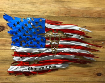 Tattered American Flag with White Heart Nurse Symbol